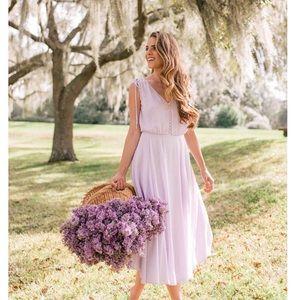 • Gal Meets Glam Dot Chiffon Midi Dress •